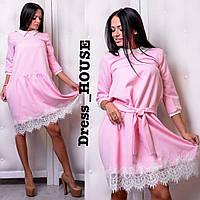 Платье с кружевом и белым воротником с поясом 503229