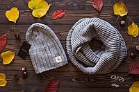 Женский комплект шапка на флисе и хомут в расцветках 270726