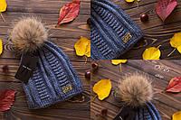 Женская вязаная шапка с меховым помпоном 270728