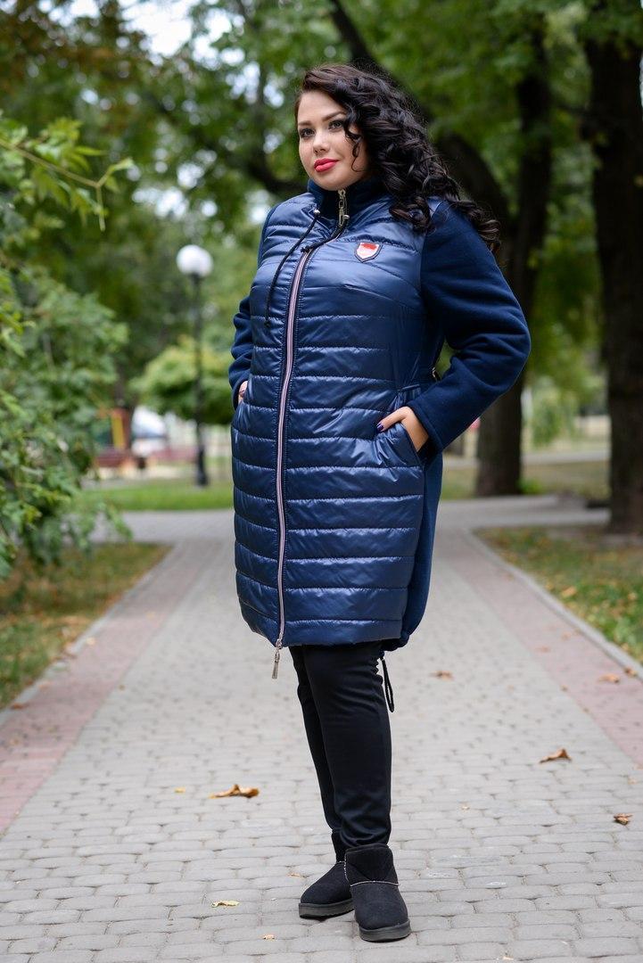 Женское комбинированное пальто больших размеров с плащевкой спереди 1015187