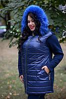 Женский жилет большого размера с плащевкой спереди и мехом на капюшоне 1015189, фото 1