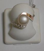 Кольцо серебряное с золотом и жемчугом Франческа, фото 1