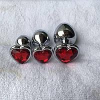 Гламурная Анальная пробка метал сердечко (L), фото 1