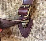 Кожаная сумка VS113 brown canvas 40х32х12 см, фото 6