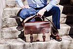 Кожаная сумка VS113 brown canvas 40х32х12 см, фото 7