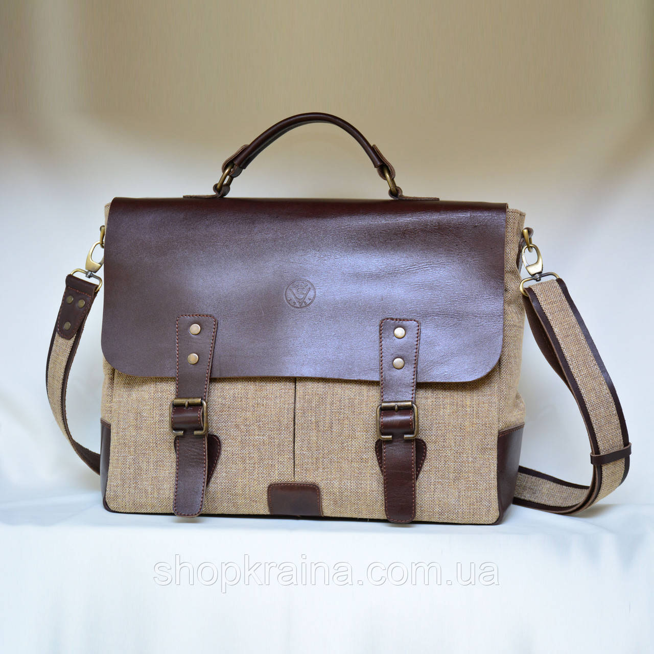 Кожаная сумка VS113 brown canvas 40х32х12 см