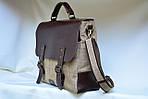 Кожаная сумка VS113 brown canvas 40х32х12 см, фото 3