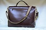 Кожаная сумка VS113 brown canvas 40х32х12 см, фото 2