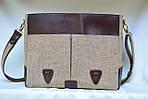 Кожаная сумка VS113 brown canvas 40х32х12 см, фото 4