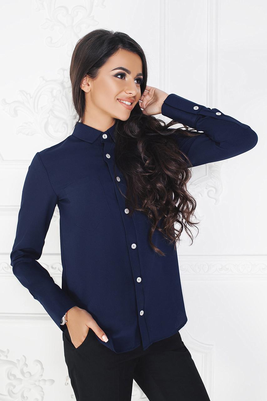 Рубашка темно-синяя Амандин классика