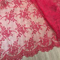 Гипюр красный из каталога -тканей для вечерних платьев Р0001