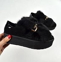 Модные женские замшевые черные слипоны с мехом натур лак