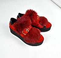 Женские модные замшевые красные слипоны с мехом + натур лак