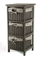 Комод с 3мя плетеными ящиками. темный