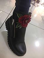 Ботинки женские Кожаные с Вышивкой Зима 38 40