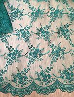 Гипюр бирюзовый из каталога -тканей для вечерних платьев Р0002