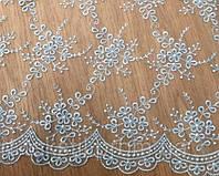 Гипюр голубой из каталога -тканей для вечерних платьев Р0004