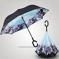 Зонт (Антизонт) UpBrella ветрозащитный обратного сложения (умный зонт) цветной с рисунком