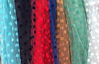 Сетка в бархатный горошек из каталога -тканей для вечерних платьев Р0005