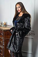 Женская шуба средней длины с капюшоном  из эко меха ( Мех:Tissavel (Франция))