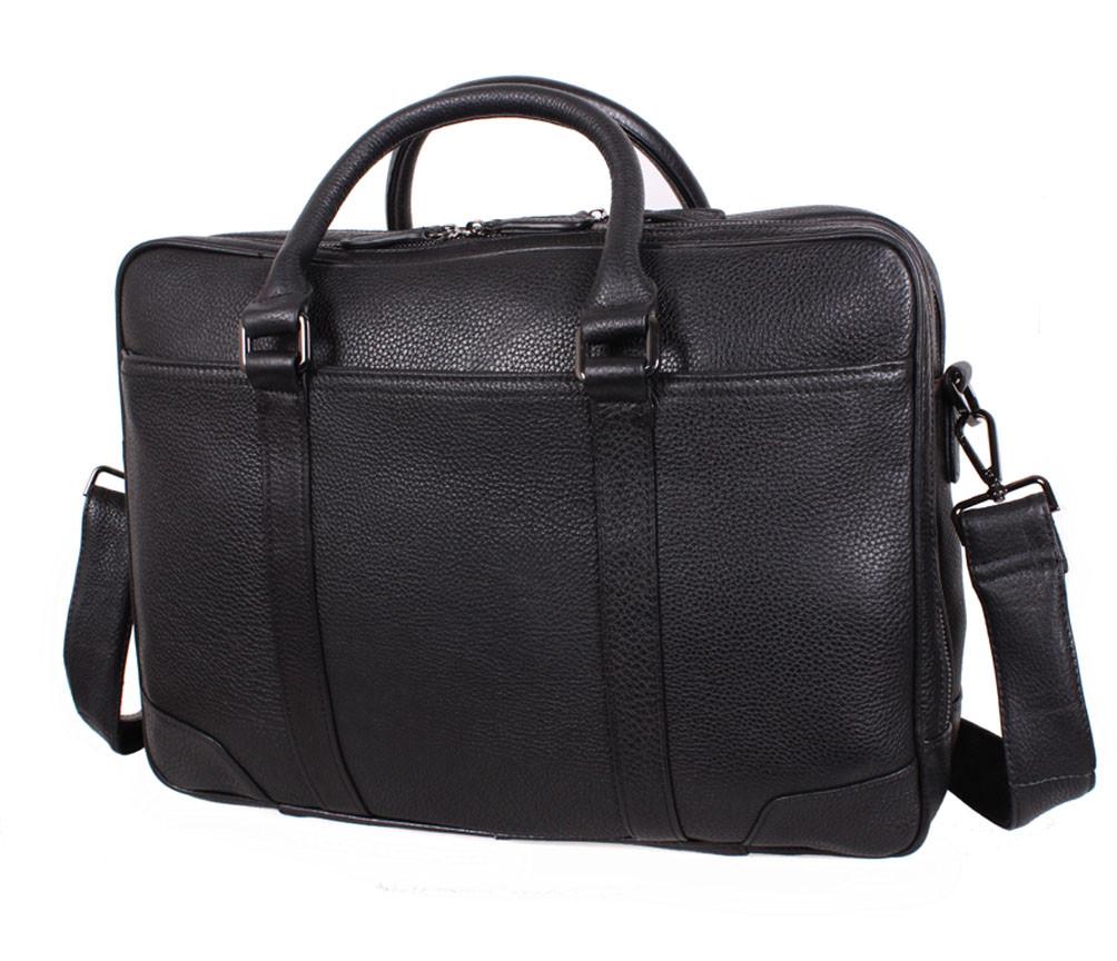 Массивная мужская кожаная сумка для ноутбука черная