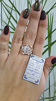 Серебряное кольцо ромб  925 с золотом  375 пробы