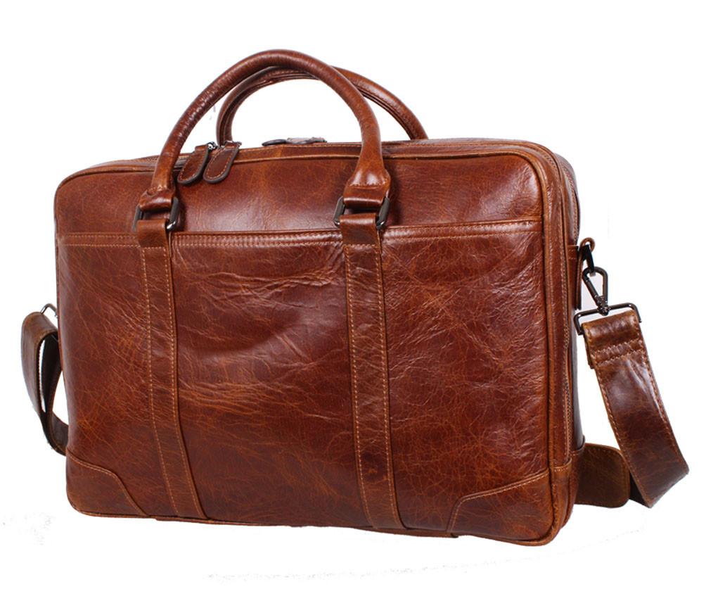 Вместительная мужская кожаная сумка для ноутбука коричневая