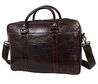 Массивная мужская кожаная сумка для ноутбука цвета кофе