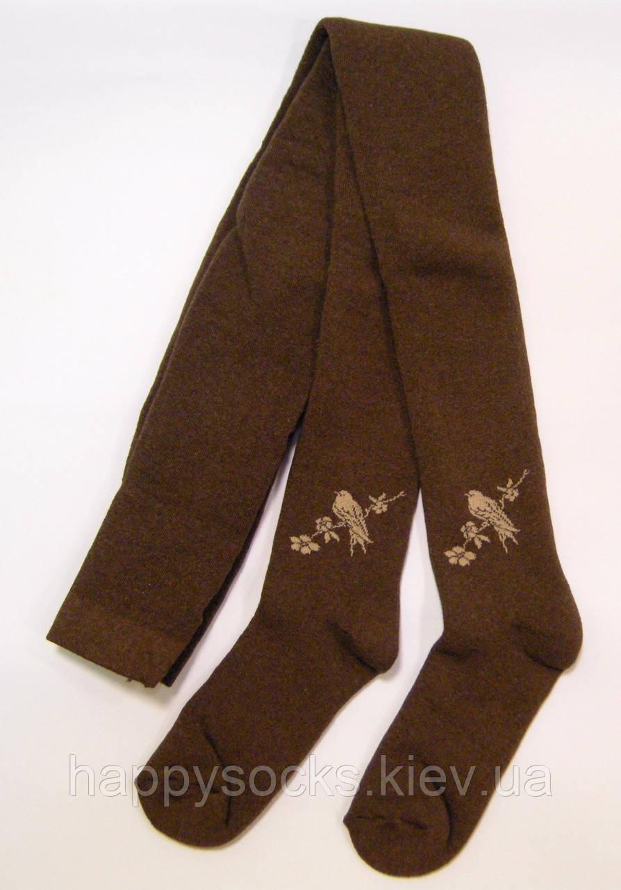 Махровые колготки коричневого цвета с птичкой