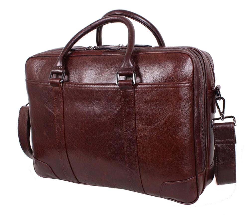Добротная мужская кожаная сумка для ноутбука коричневая