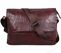 Надежная мужская кожаная сумка горизонтальная формата А4 коричневая