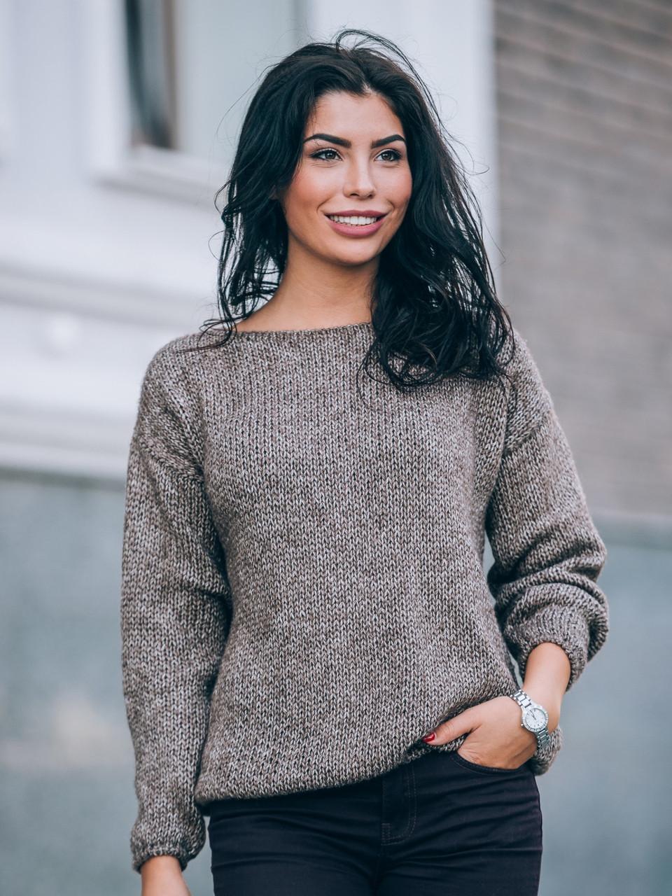 свободный модный вязаный женский свитер р44 50 цена 480 грн