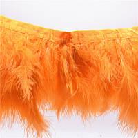 Перья Марабу (лебяжий пух) на ленте Оранжевые 15 см/50 см