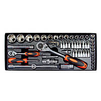 """Профессиональный набор инструмента 1/2"""" & 1/4"""", 56 ед (гол. 4-32 мм, биты 18 ед.) Intertool ET-6056"""
