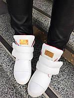 Только 37 размер! Женские белые ботинки сникерсы кожа внутри байка на липучке P/Pl&in