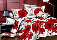Семейное постельное белье - Красные цветы - Сатин Люкс коллекция 2014