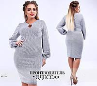 Платье рукав фонарик+вырез капелька R-13329 белый