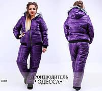 Куртка зима М076 стеганая+отделка мех R-13304 фиолетовый