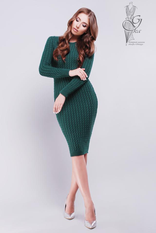 Фото Женского облегающего платья приталенного вязаного Катя-6