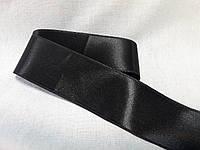 Стрічка атласна  двостороння 5,7 см ( 10 метрів) чорна Лента атласная двухсторонняя.
