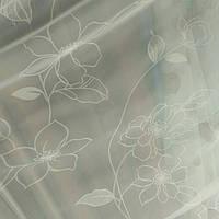 Тюль шифон турецкий Белые цветы, фото 1