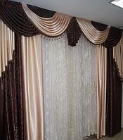 Готовые шторы с ламбрекеном в зал