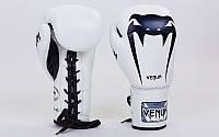Перчатки боксерские кожаные на шнуровке VENUM   (р-р 10-14oz, красный), фото 1