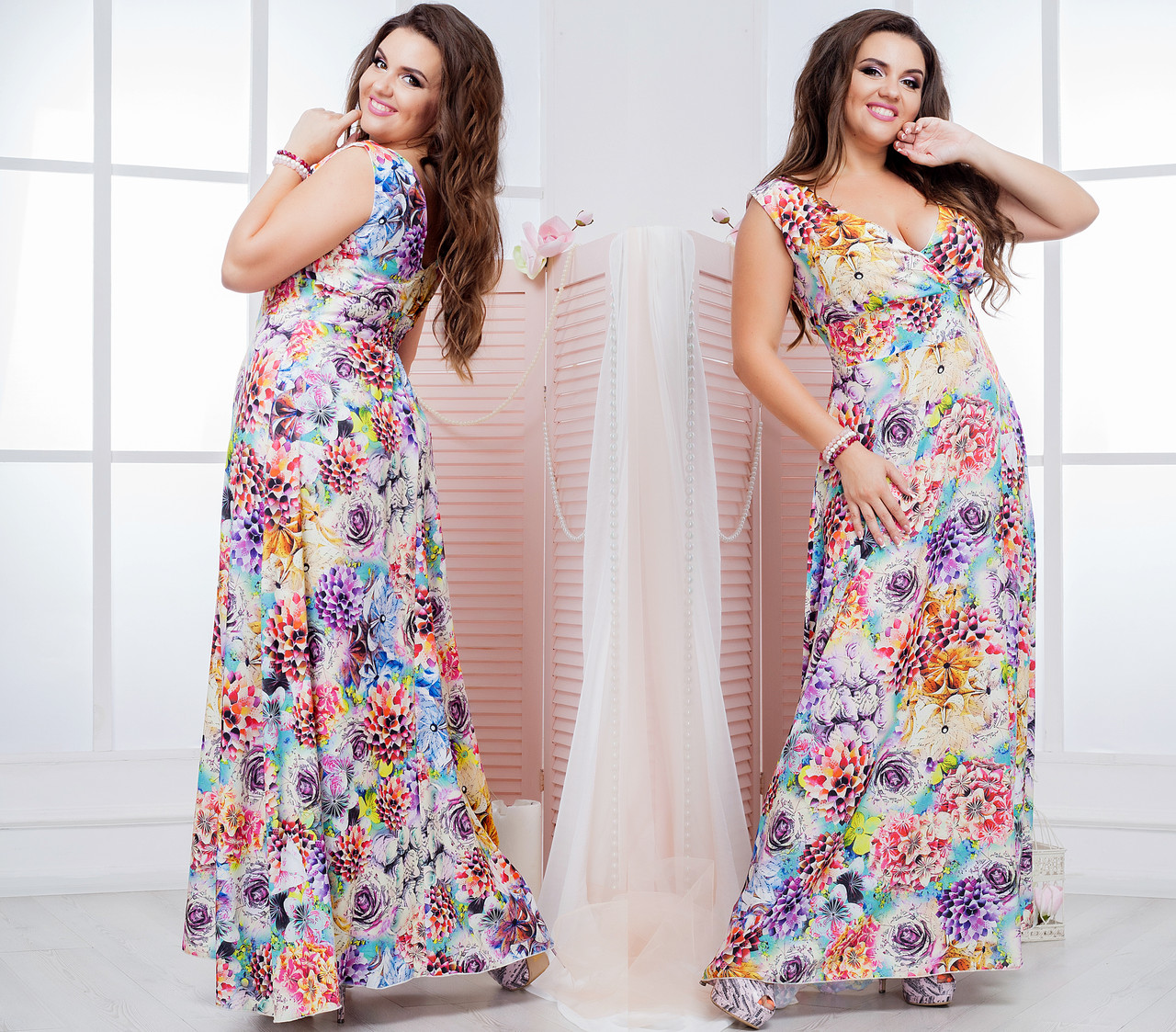 Женское  платье в пол (50-60) 8143