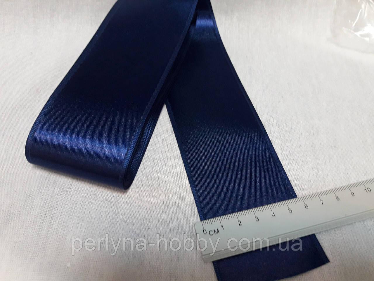 Стрічка атласна двостороння 5,7 см на метраж, синя темна