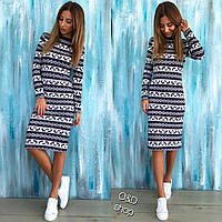 Теплое платье из ангоры с оленями 2 цвета SMc777