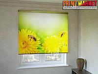 Рулонные шторы с фотопечатью пчелы на цветах