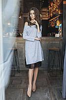 Платье двойка туника +сарафан сетка норма  3039 Алк