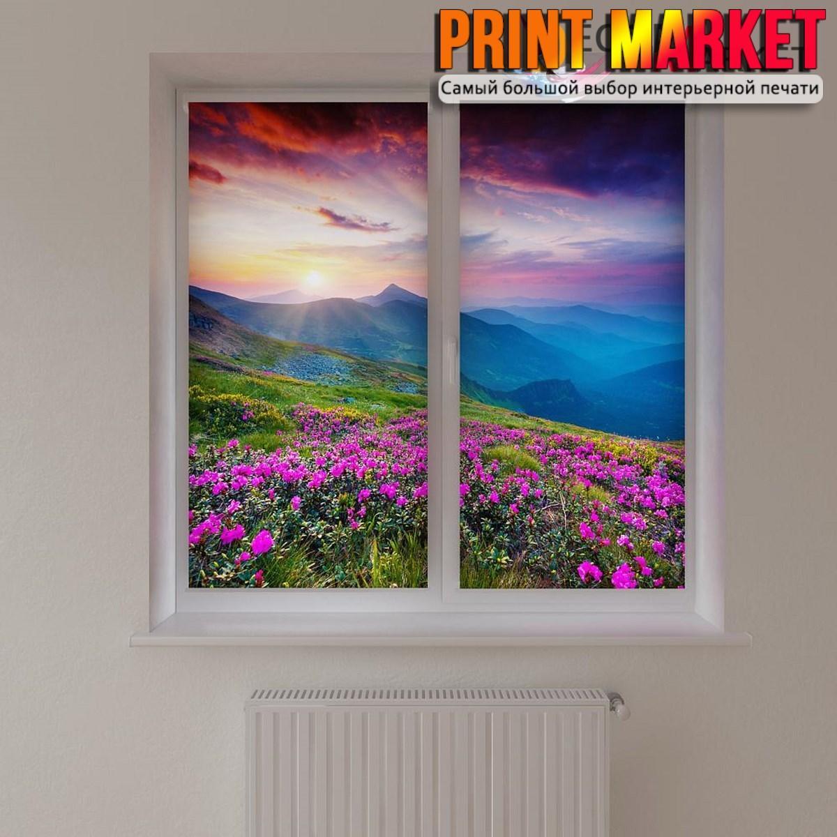 Рулонные шторы с фотопечатью горы и цветы 3д