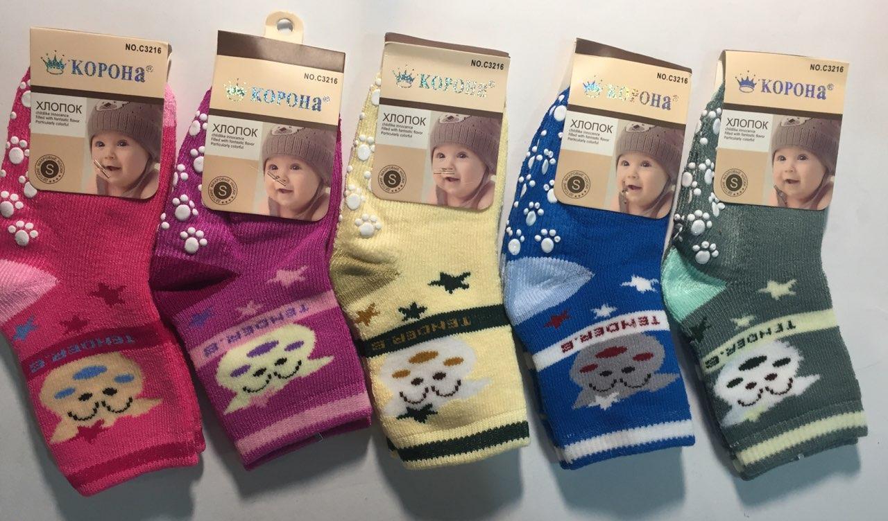 Махровые детские носки с тормозами Корона S M  Хлопок тормозами